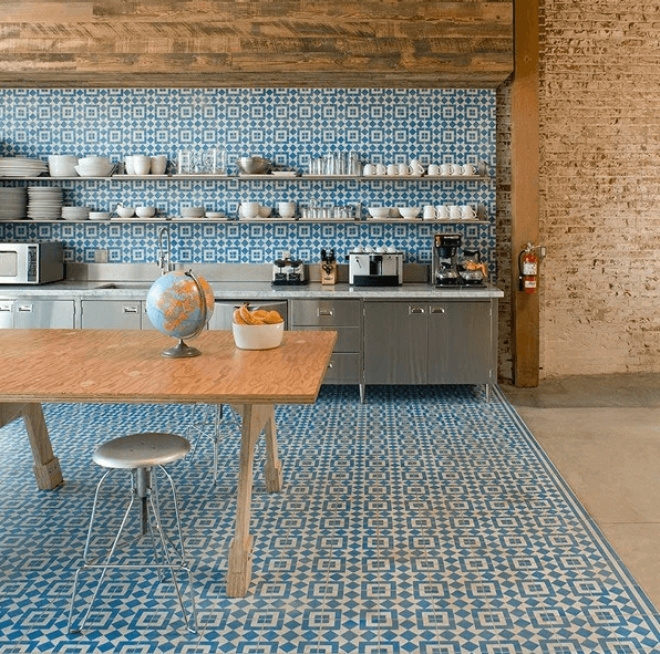 Additional Costs. Encaustic Wall And Floor Tile In A Modern Kitchen