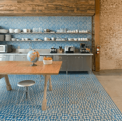 Encaustic Wall and Floor Tile in a Modern Kitchen ...