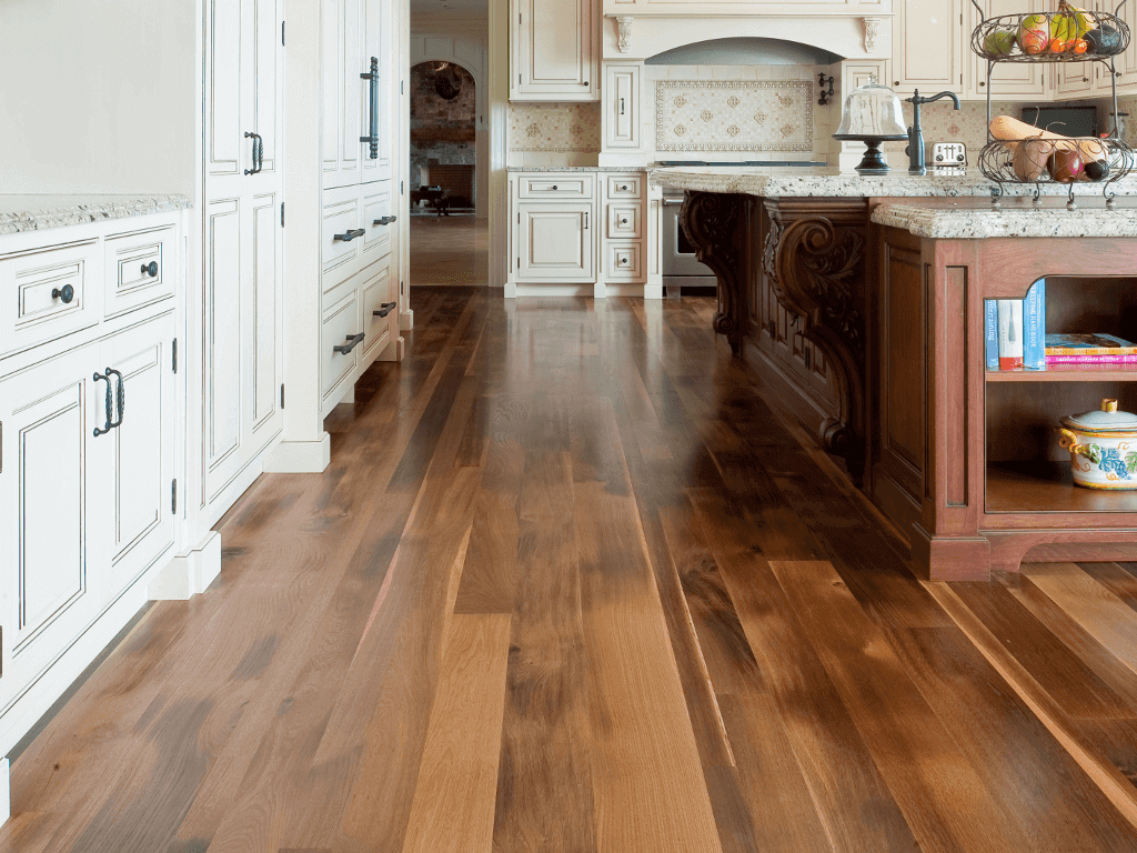 hardwood floor installation cost kitchen wood floors Hardwood Flooring in a Classic White Kitchen
