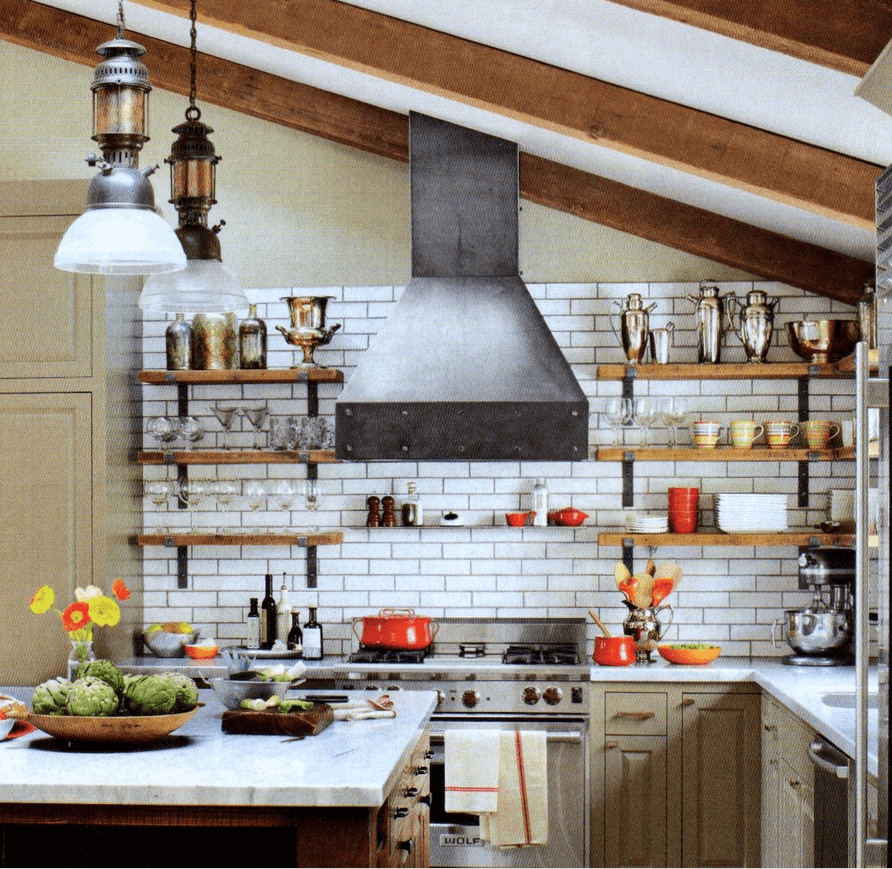 Industrial style kitchen remodel cost for Kitchen cabinet shelves