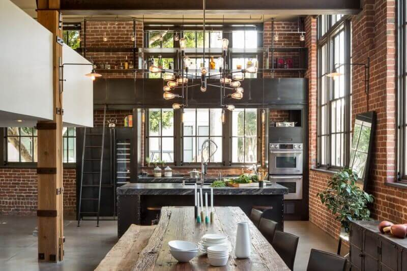 industrial kitchen design in a modern loft - Industrial Kitchen