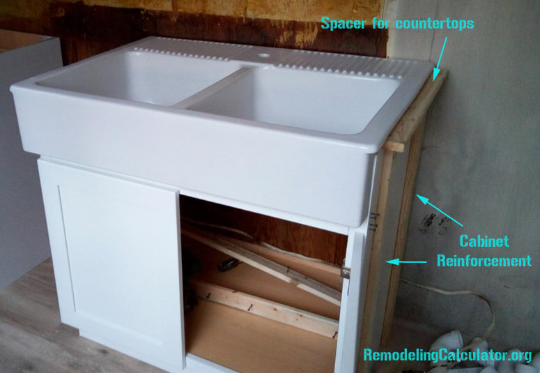 IKEA Domsjo Sink in non-IKEA Kitchen Cabinet - DIY