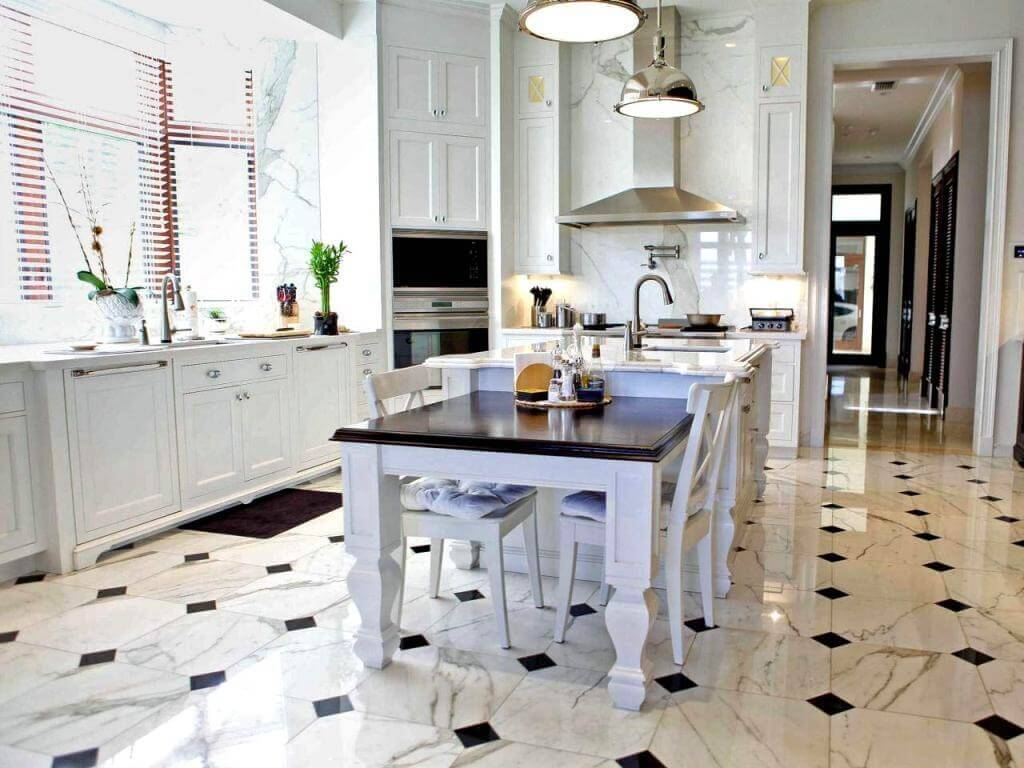 Flooring In Kitchen Kitchen Floor Tiles Grey This White Kitchen Is Enlivened By A