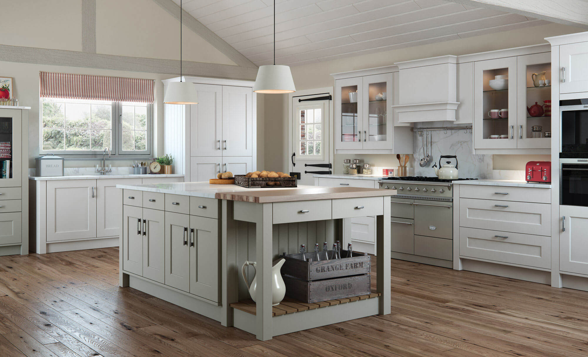Light Grey Kitchen Cabinets In A Country Style Kitchen Remodeling