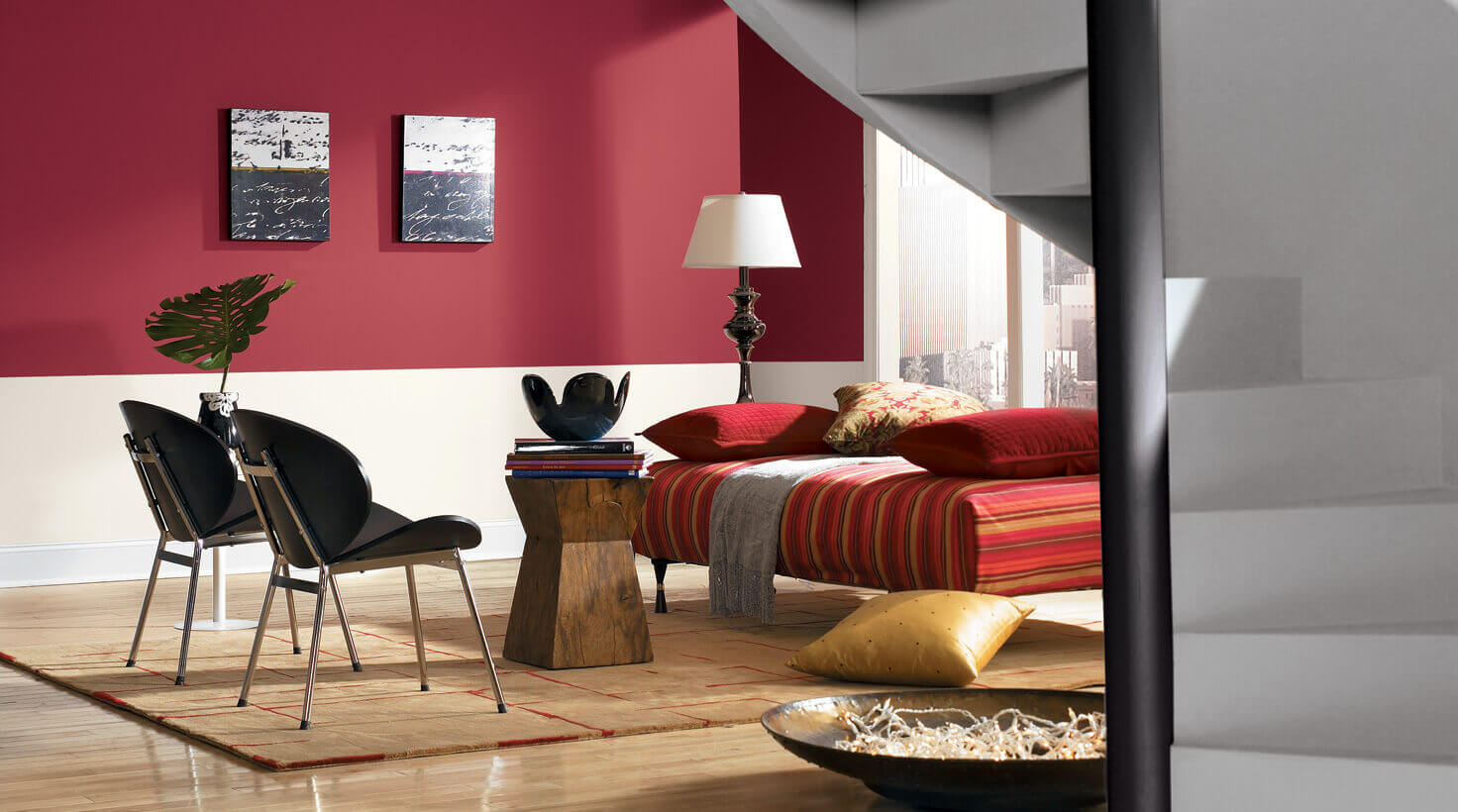 Living room color crimson red and grey remodeling cost - Best type of paint for living room ...