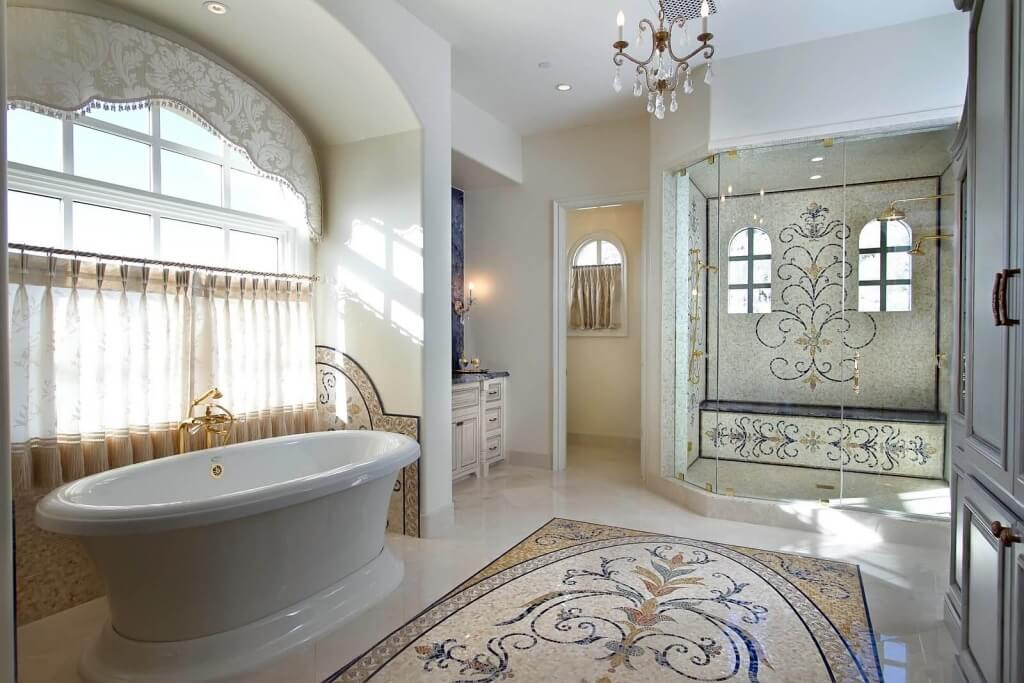 Luxury Master Bathroom With Mosaic Tile Design