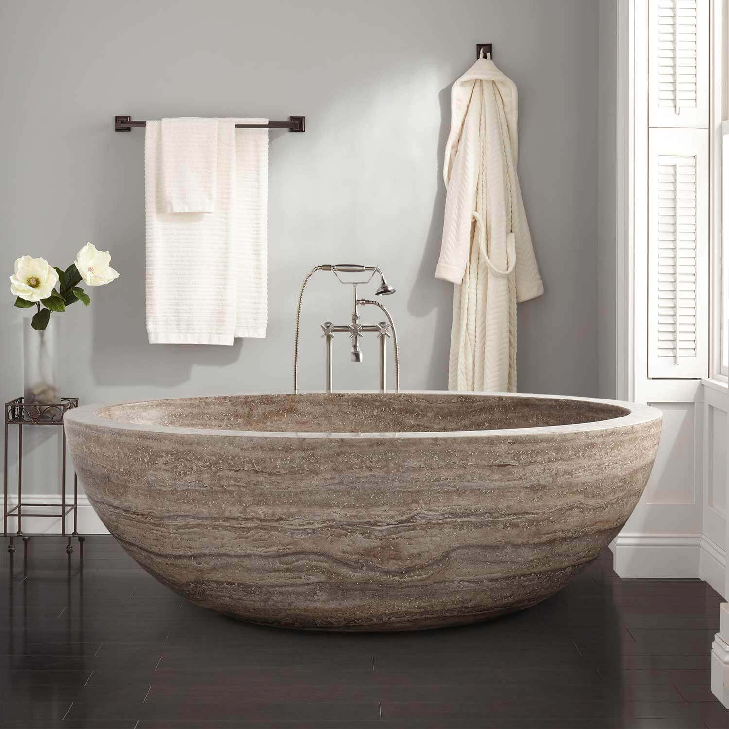 Freestanding stone bathtub freestanding bathtub oval for Resin tubs pros and cons