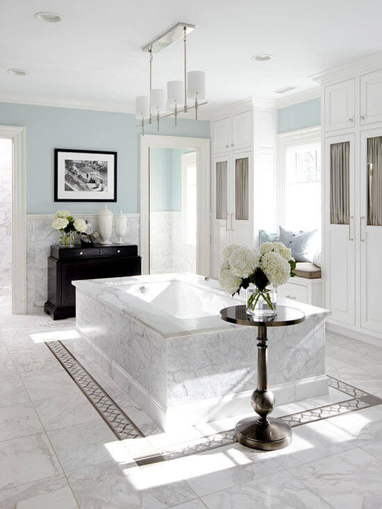 Marble Floor Tile In A Classic Bathroom