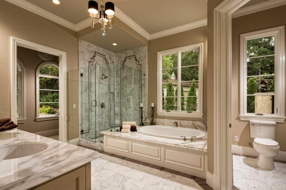 Master bathroom with crown molding