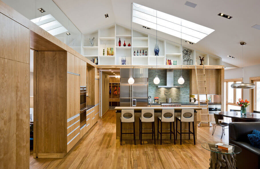 Modern Kitchen with Skylights