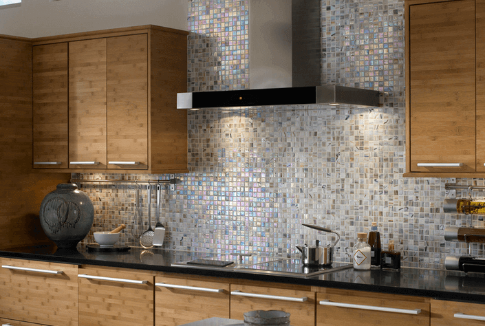 mosaic backsplash tile in the kitchen installation