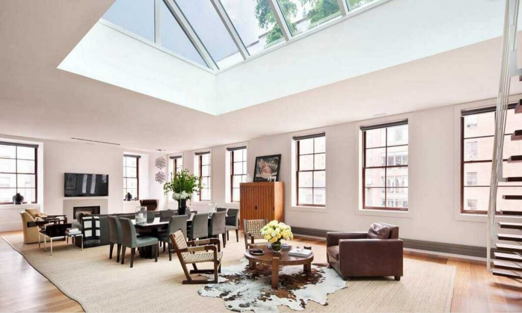 Oversized Skylight in a modern living room