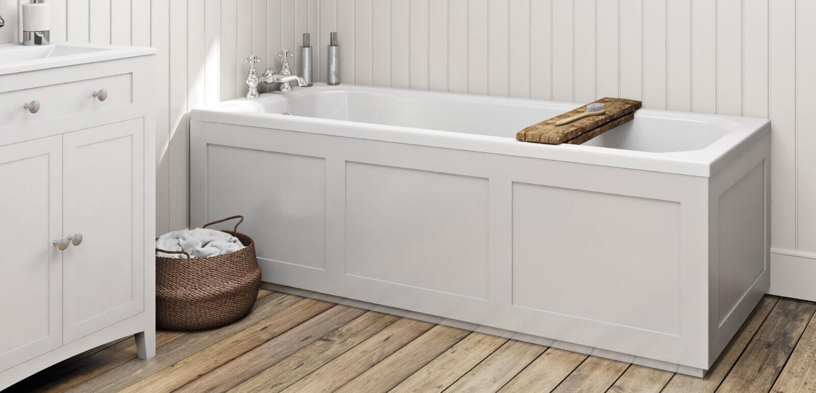 Plastic Bathtub in a modern budget bathroom