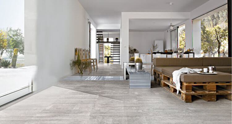 Porcelain Floor Tile In A Contemporary Living Room