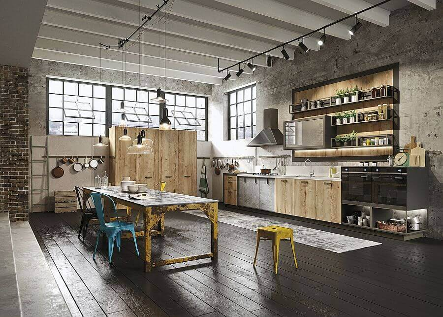 How to design an industrial kitchen in your home for Industrial flooring for homes