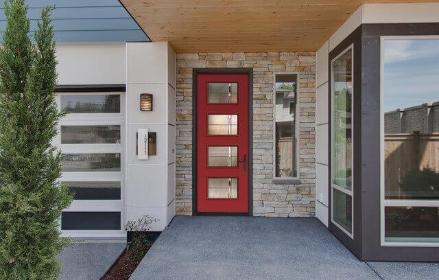 Red Fibergl Entry Door Remodeling