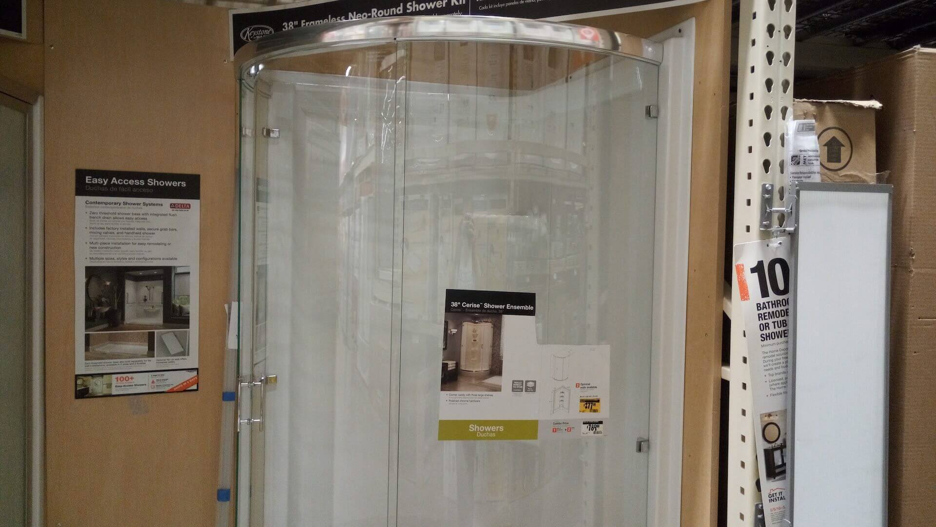 Round glass shower review 514 at home depot - Home depot bathroom tile installation cost ...
