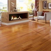 Shiny Hardwood Floors in a modern living room
