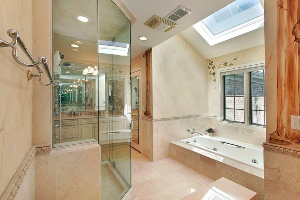 Skylight in a master bathroom
