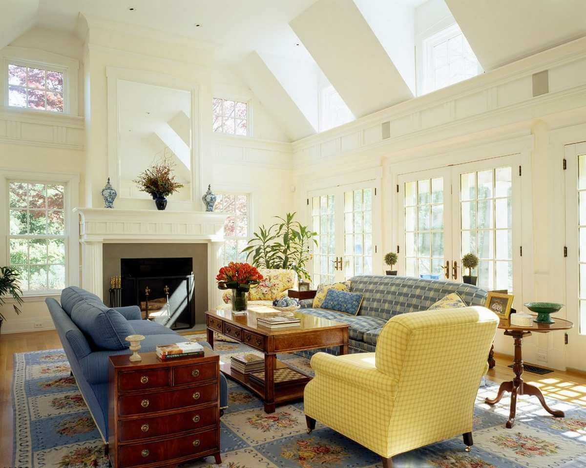 Skylights in a sunny French Country Style Living Room