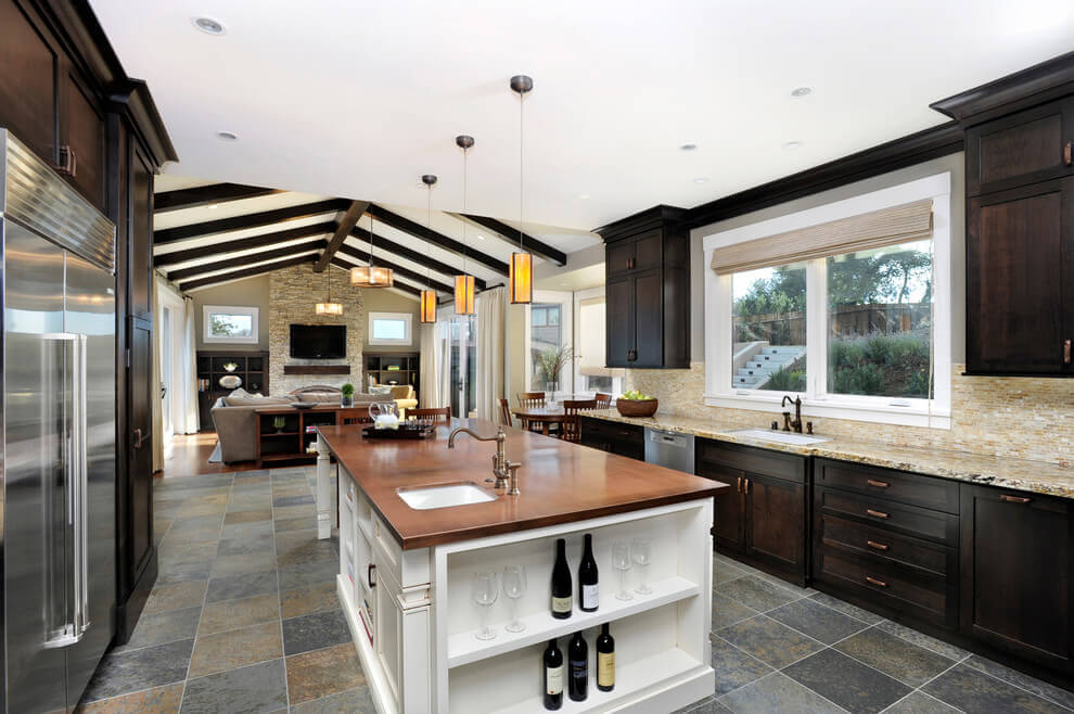 Slate Floor Tile in a Modern Kitchen | Remodeling Cost ...