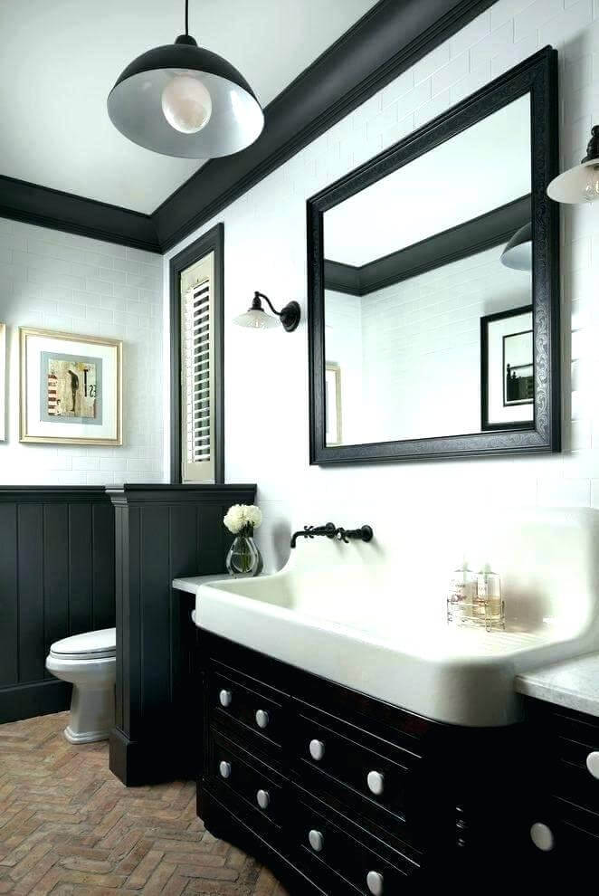 Small Bathroom With Black Crown Molding
