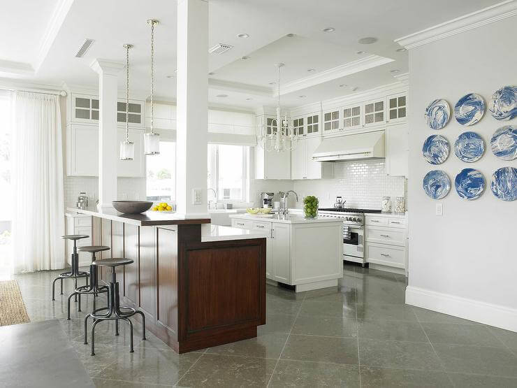 stone floor tile in a large white kitchen - Large White Kitchen Floor Tiles