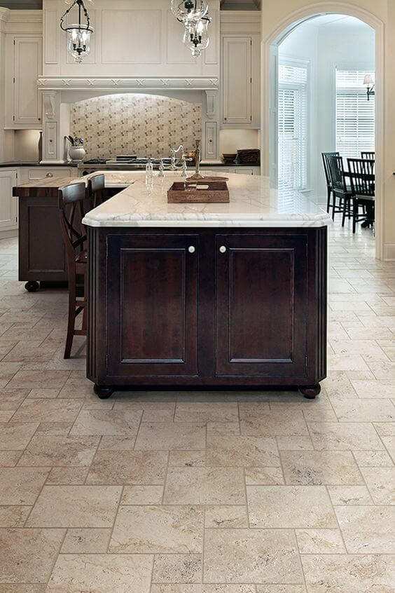 Travertine Floor Tile In A Luxury Kitchen