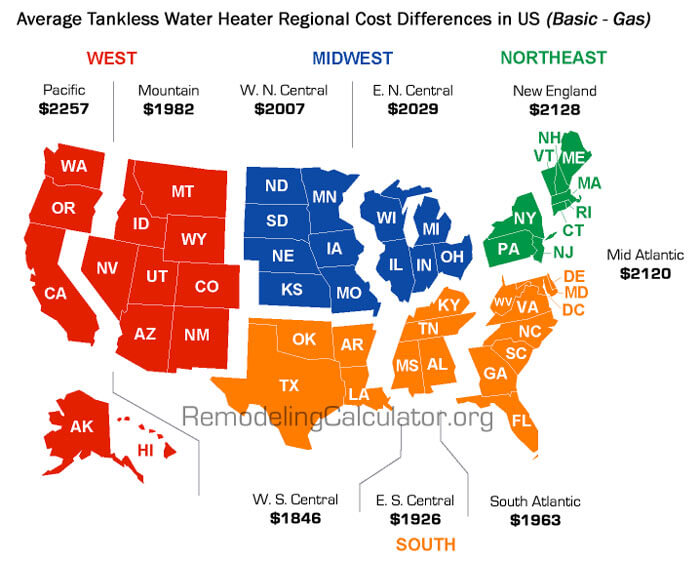 Us Region Local Tankless Water Heater Prices Map