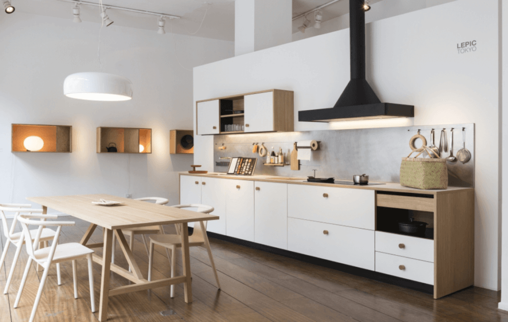 White Modern Kitchen With Fenix NTM Kitchen Counters - Wood Look