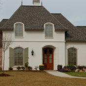 White stucco on a tudor style home