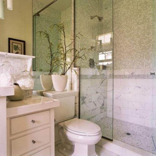 custom built shower stall in a small bathroom