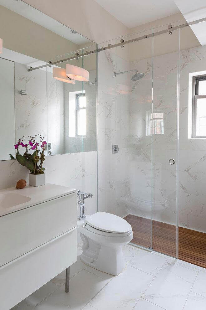 glass shower enclosure in small bathroom - Remodeling Cost ...