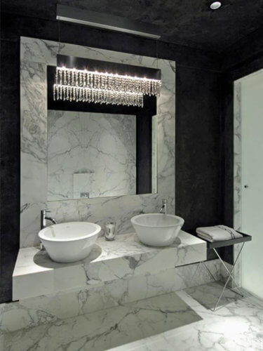luxury small bathroom with marble