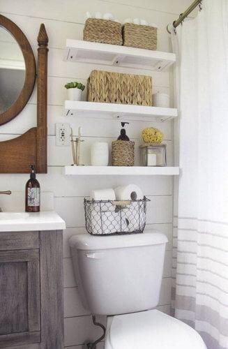 over the toilet shelves for bathroom renovation