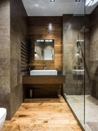 oversized tile in a small luxury bathroom