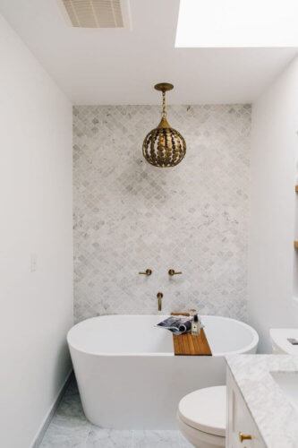 small bath with a tub