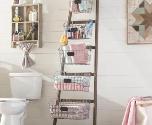 vertical space saving bathroom storage